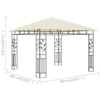 vidaXL Paviljong med myggnät 3x3x2,73 m gräddvit 180 g/m²