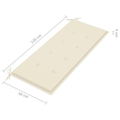 vidaXL Hopfällbar trädgårdsbänk med dyna 118 cm bambu, Cream