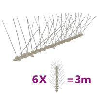 vidaXL 4-raders Fågelpiggar plast 6 st 3 m