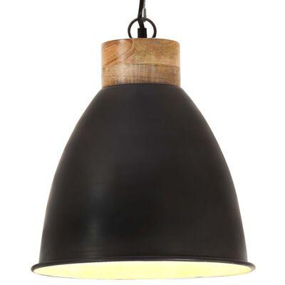 vidaXL Hänglampa industriell svart järn & massivt trä 35 cm E27