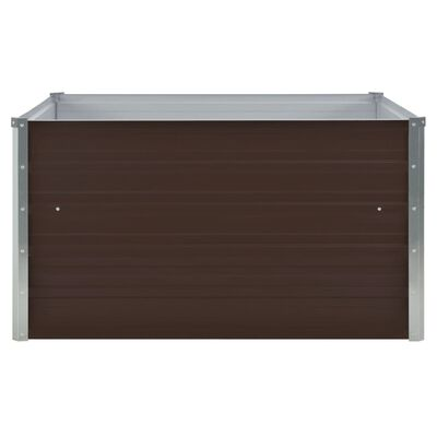 vidaXL Odlingslåda 100x100x45 cm galvaniserat stål brun