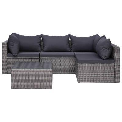 vidaXL Loungegrupp för trädgården med dynor 8 delar konstrotting grå