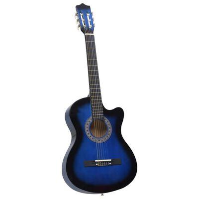 """vidaXL Akustisk westerngitarr med cutaway 6 strängar blå 38"""""""