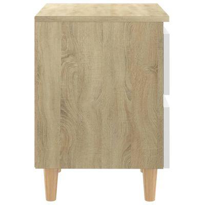 vidaXL Sängbord med massiva furuben vit och sonoma-ek 40x35x50 cm