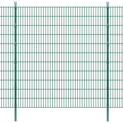 vidaXL 2D Stängselpaneler med stolpar 2008x2230 mm 28 m grön