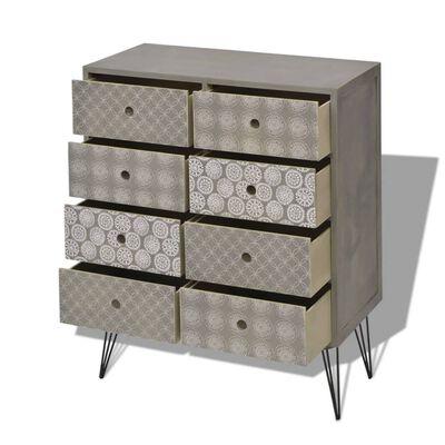 vidaXL Skänk med 8 lådor grå