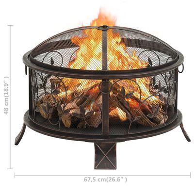 vidaXL Rustik eldstad med eldgaffel 67,5 cm XXL stål