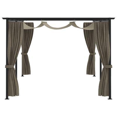 vidaXL Paviljong med draperier 6x3 m taupe stål