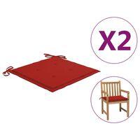 vidaXL Stolsdynor för trädgården 2 st röd 50x50x3 cm