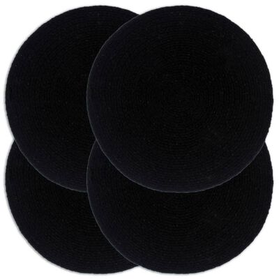 vidaXL Bordstabletter 4 st svart 38 cm rund bomull