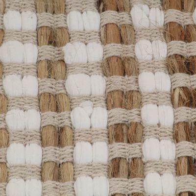 vidaXL Badrumsmattor handvävd jute beige och vit