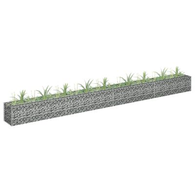 vidaXL Planteringsgabion upphöjd galvaniserat stål 360x30x30 cm