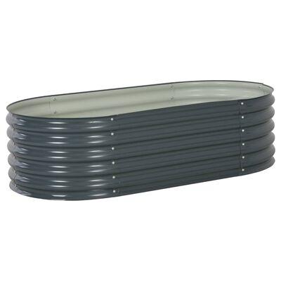 vidaXL Odlingslåda upphöjd galvaniserat stål 160x80x44 cm grå