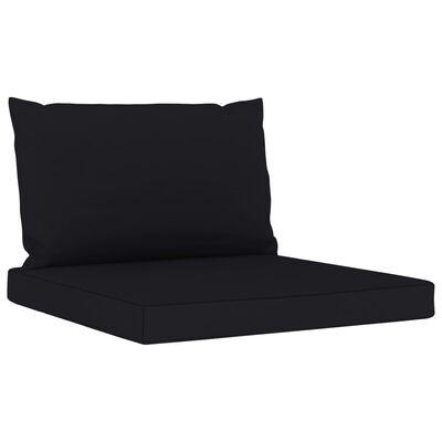 vidaXL Loungegrupp med svarta dynor 6 delar impregnerad furu
