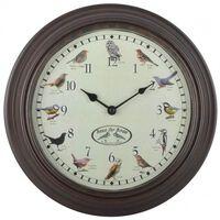 Esschert Design Klocka med fågelkvitter