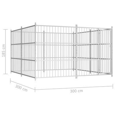 vidaXL Hundgård för utomhusbruk 300x300x185 cm