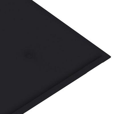 vidaXL Trädgårdsbänk med svart dyna 112 cm massiv teak