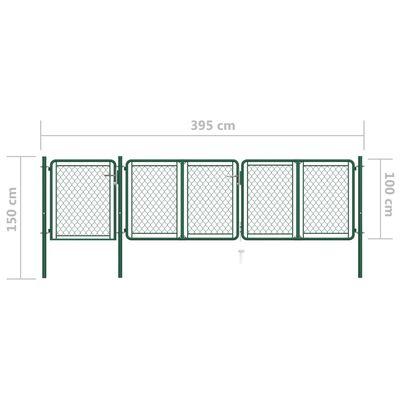vidaXL Trädgårdsgrind stål 100x395 cm grön