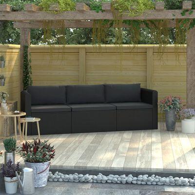 vidaXL Soffgrupp för trädgård med dynor 3 delar konstrotting svart