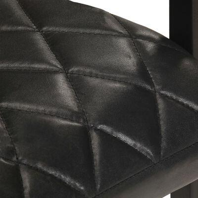 vidaXL Fribärande matstolar 6 st svart äkta läder