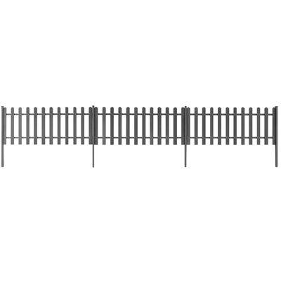 vidaXL Staket med stolpar 3 st WPC 600x60 cm