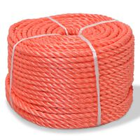vidaXL Tvinnat rep i polypropylen 14 mm 100 m orange