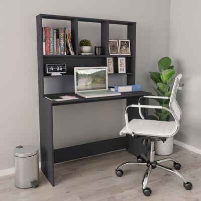 vidaXL Skrivbord med hyllor grå 110x45x157 cm spånskiva