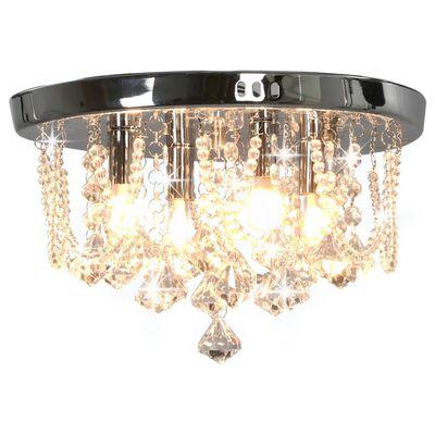vidaXL Taklampa med kristallpärlor silver rund 4 x G9-lampor