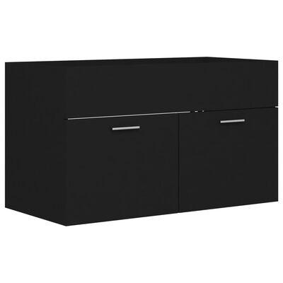 vidaXL Tvättställsskåp svart 80x38,5x46 cm spånskiva