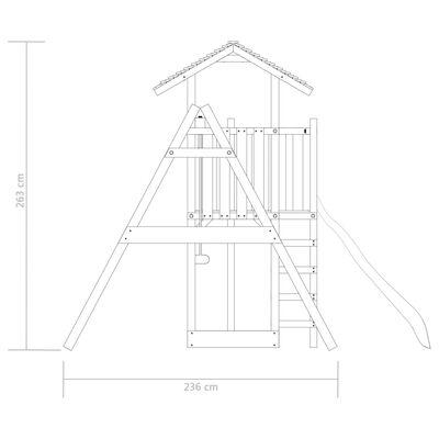 vidaXL Lekstuga med stege rutschkana och gungor 407x381x263 cm trä