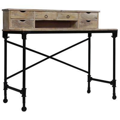 vidaXL Skrivbord massivt mangoträ och stål 110x50x96 cm