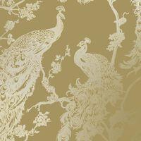 DUTCH WALLCOVERINGS Tapet påfågel gul och silver