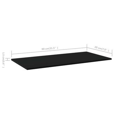 vidaXL Hyllplan 4 st svart 80x20x1,5 cm spånskiva