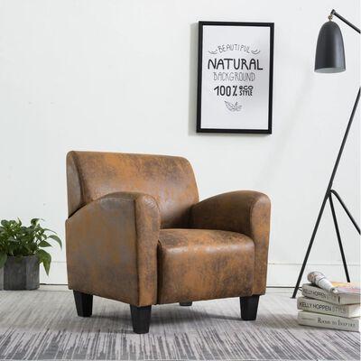 vidaXL Fåtölj brun konstmocka