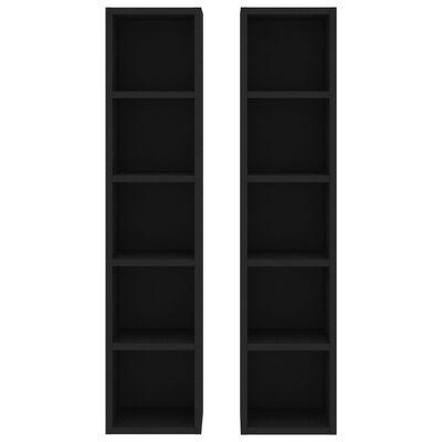 vidaXL CD-hyllor 2 st svart 21x16x93,5 cm spånskiva