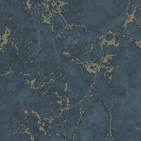 DUTCH WALLCOVERINGS Tapet marmor blå och guld
