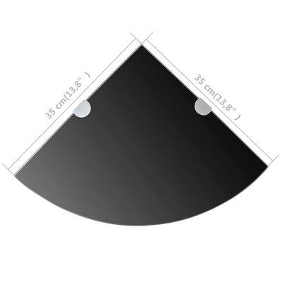 vidaXL Hörnhylla glas med förkromade hyllkonsoler svart 35x35 cm