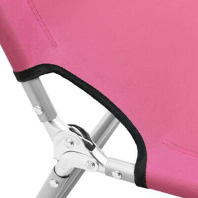 vidaXL Hopfällbar solsäng stål och tyg rosa