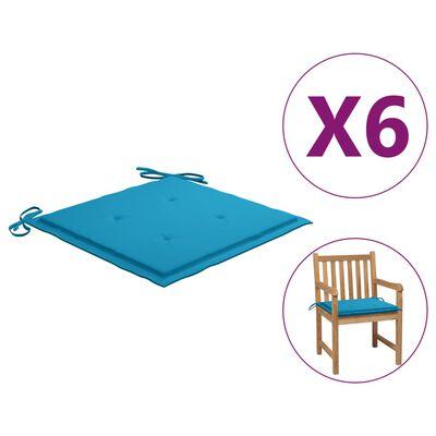 vidaXL Sittdynor för trädgården 6 st blå 50x50x4 cm tyg