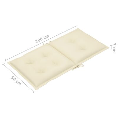vidaXL Dynor för trädgårdsstolar 6 st gräddvit 100x50x7 cm