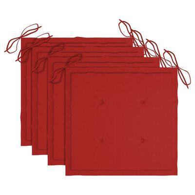 vidaXL Trädgårdsstolar med röda dynor 4 st massivt teakträ