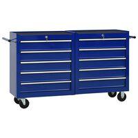 vidaXL Verktygsvagn med 10 lådor stål blå