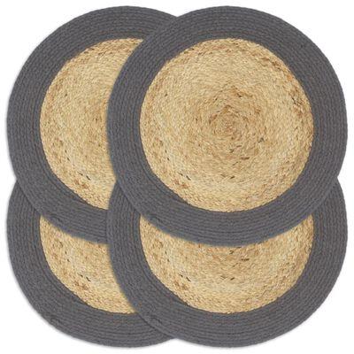 vidaXL Bordstabletter 4 st naturlig och antracit 38 cm jute och bomull