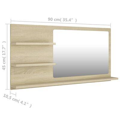 vidaXL Spegelskåp sonoma-ek 90x10,5x45 cm spånskiva
