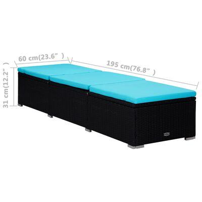 vidaXL Solsängar och sidobord 3 delar konstrotting svart