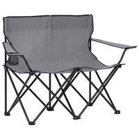 vidaXL 2-sits hopfällbar campingstol stål och tyg grå