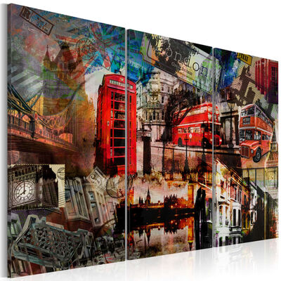 Tavla - London Collage - Triptych - 120x80 Cm