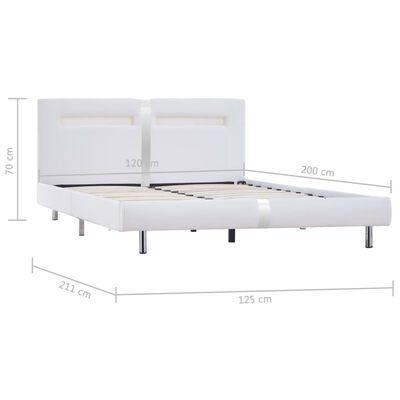 vidaXL Sängram med LED vit konstläder 120x200 cm