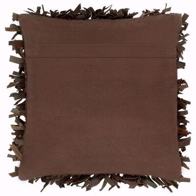 vidaXL Kudde långhårig brun 60x60 cm läder och bomull