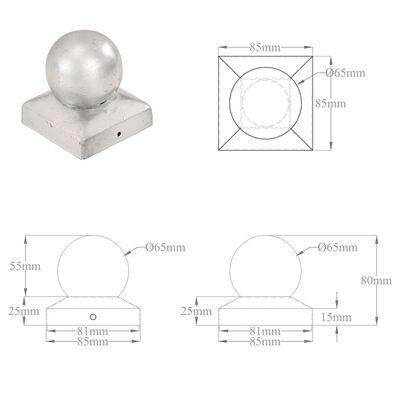 vidaXL Stolphattar klot 6 st galvaniserad metall 81x81 mm